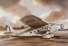 John Baeder - Ford C-4A Trimotor